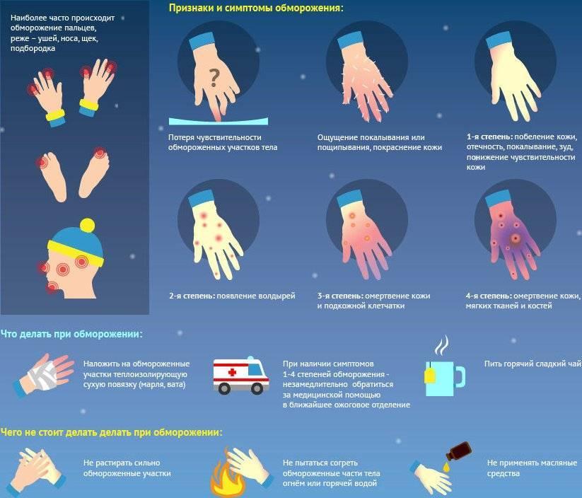 Первая помощь при обморожении, что делать при отморожении у взрослых и детей