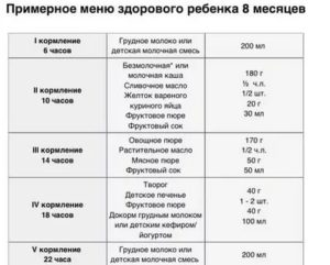 Питание детей в 8 месяцев: оптимальное меню для восьмимесячного ребенка