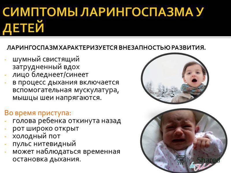Ларингоспазм у детей – симптомы, неотложная помощь при ларингоспазме у детей, алгоритм