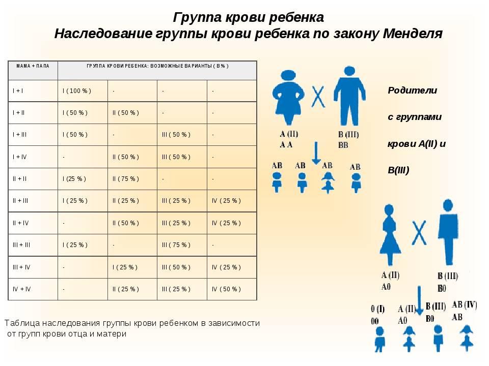 Как узнать, какая группа крови будет у ребенка от родителей (таблица)