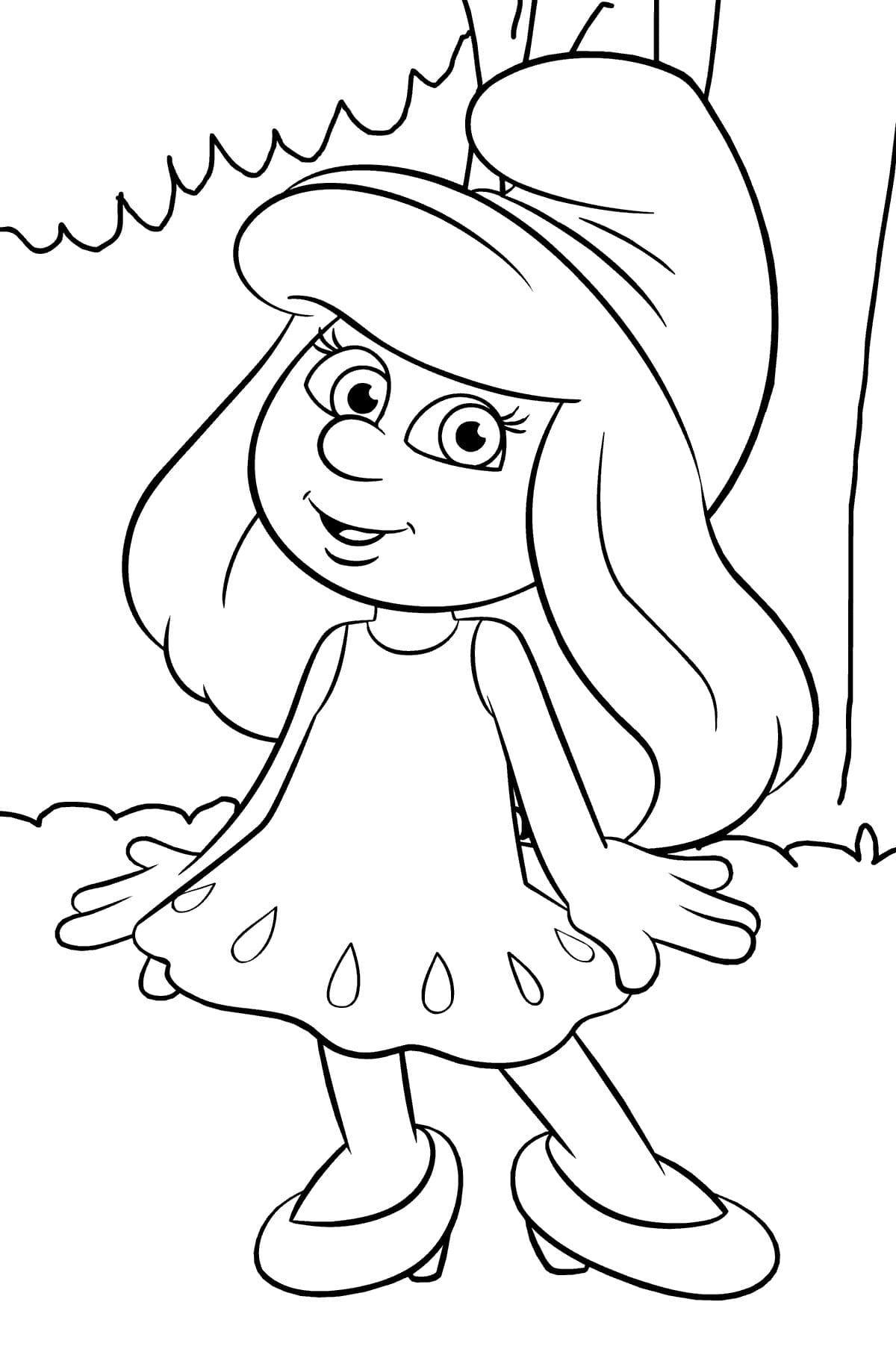 Раскраска смурфики в большом городе | раскраски смурфики (smurfs). раскраска смурфы - smurfs coloring pages