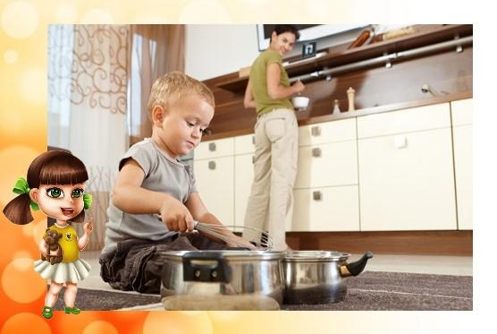 Чем и как маме  занять маленького ребенка на кухне?