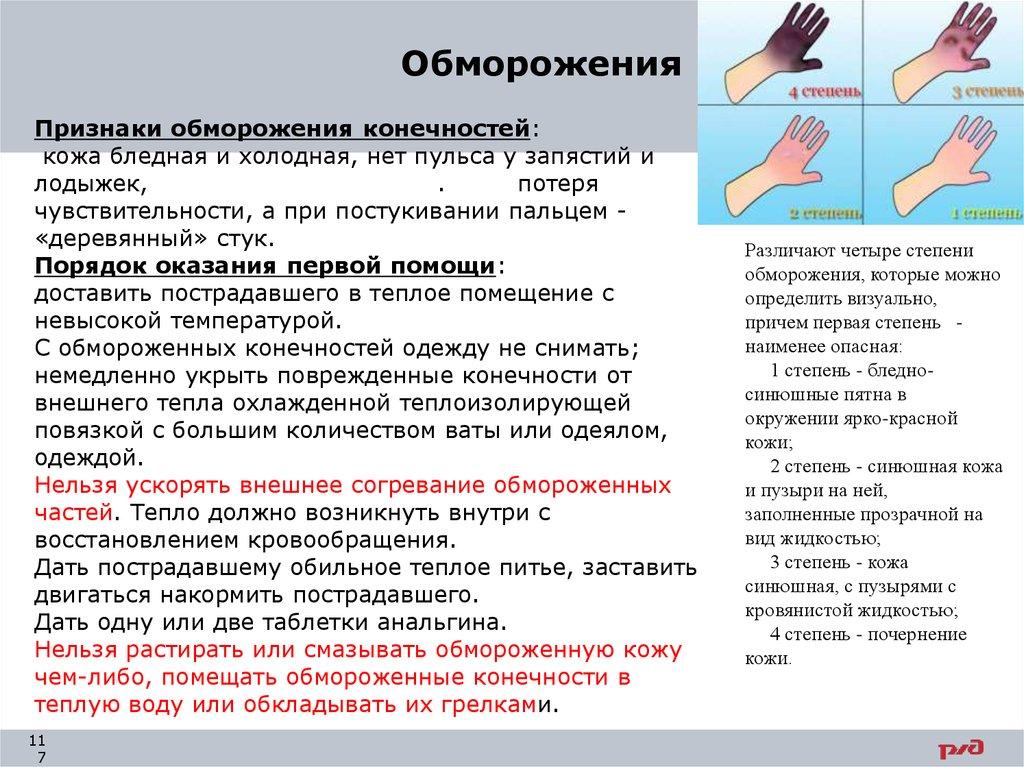 Первая помощь при обморожении и переохлаждении - степени и признаки, необходимые доврачебные действия