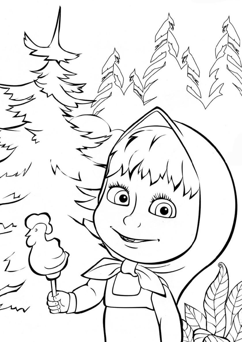 Раскраска маша нашлась! | раскраски из мультфильма маша и медведь
