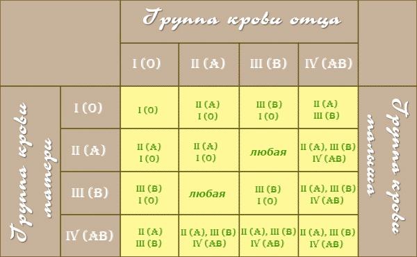 Совместимость групп крови для зачатия ребенка (таблица), совместимость родителей по резус-фактору и причины конфликта