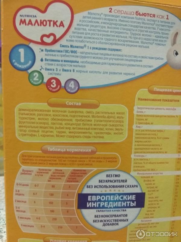 Обзор смеси малютка для питания новорожденного: состав детских молочных смесей