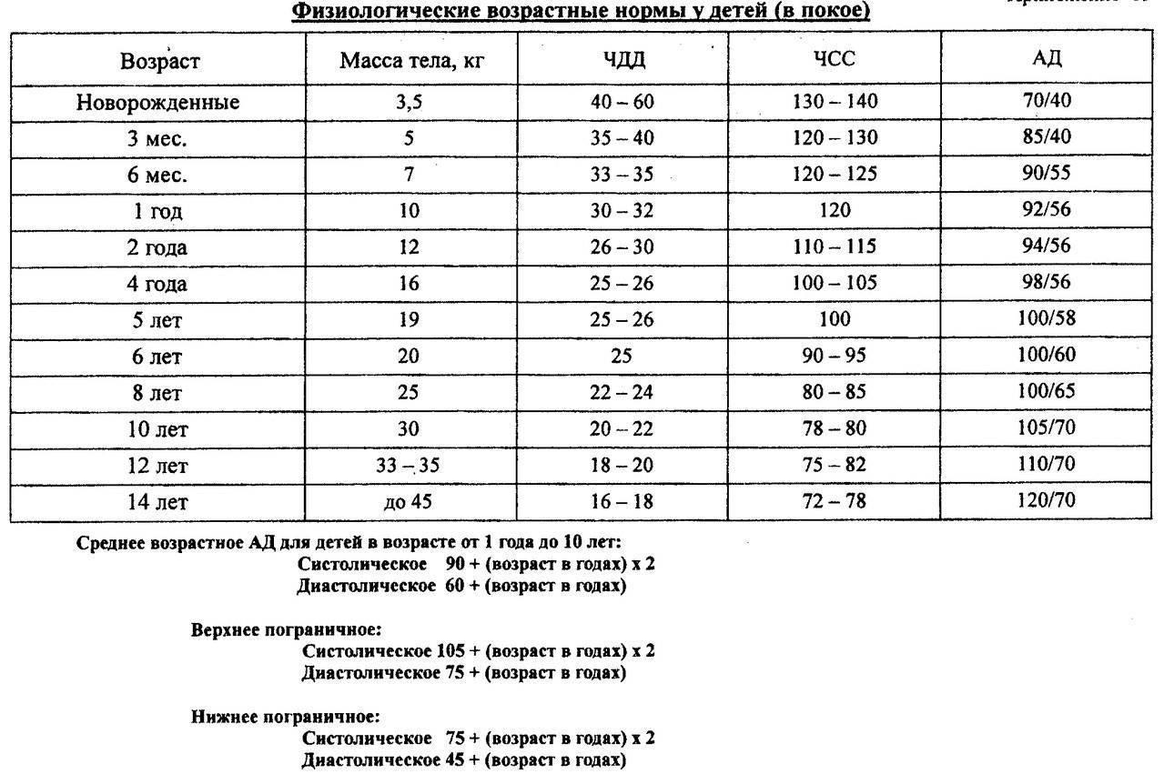Чсс и чдд у детей: какая норма по таблице с ад у новорожденных и по возрастам, подсчет показателей частоты пульса и дыхания