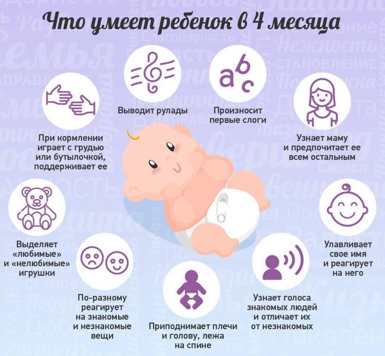 Что умеет и должен уметь ребенок в 4 месяца