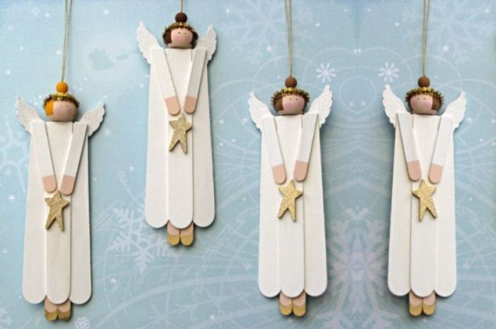 ангелочки на елку из палочек для мороженого