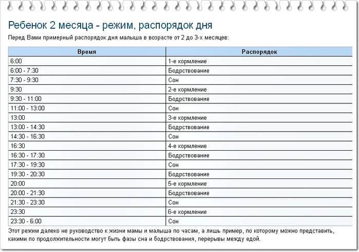 Примерный режим дня ребенка в 2 месяца (по часам). Советы и рекомендации