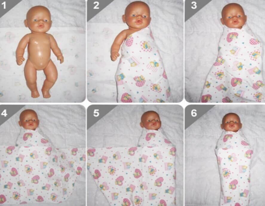 Пеленание новорожденного: алгоритм действий, виды, техники и способы пошагово