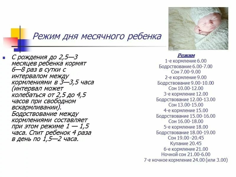 Режим дня ребенка в первые дни жизни