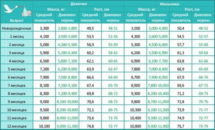 Нормы веса и роста ребенка по месяцам до года: калькулятор, таблица прибавки для грудничка по ВОЗ