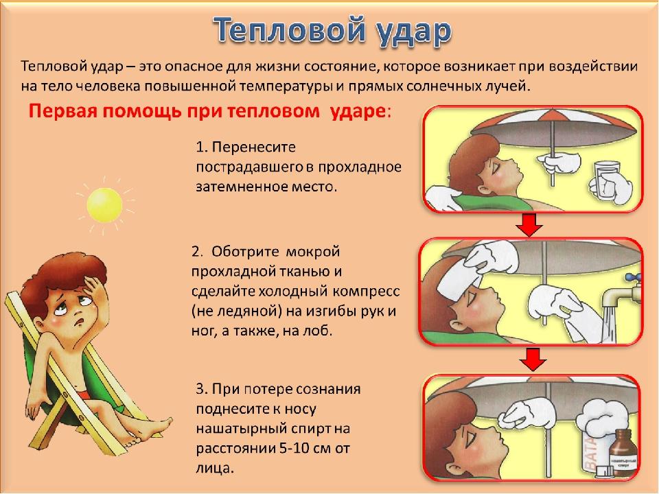 Что делать при тепловом ударе у ребёнка - лечение, первая помощь, питание и пр