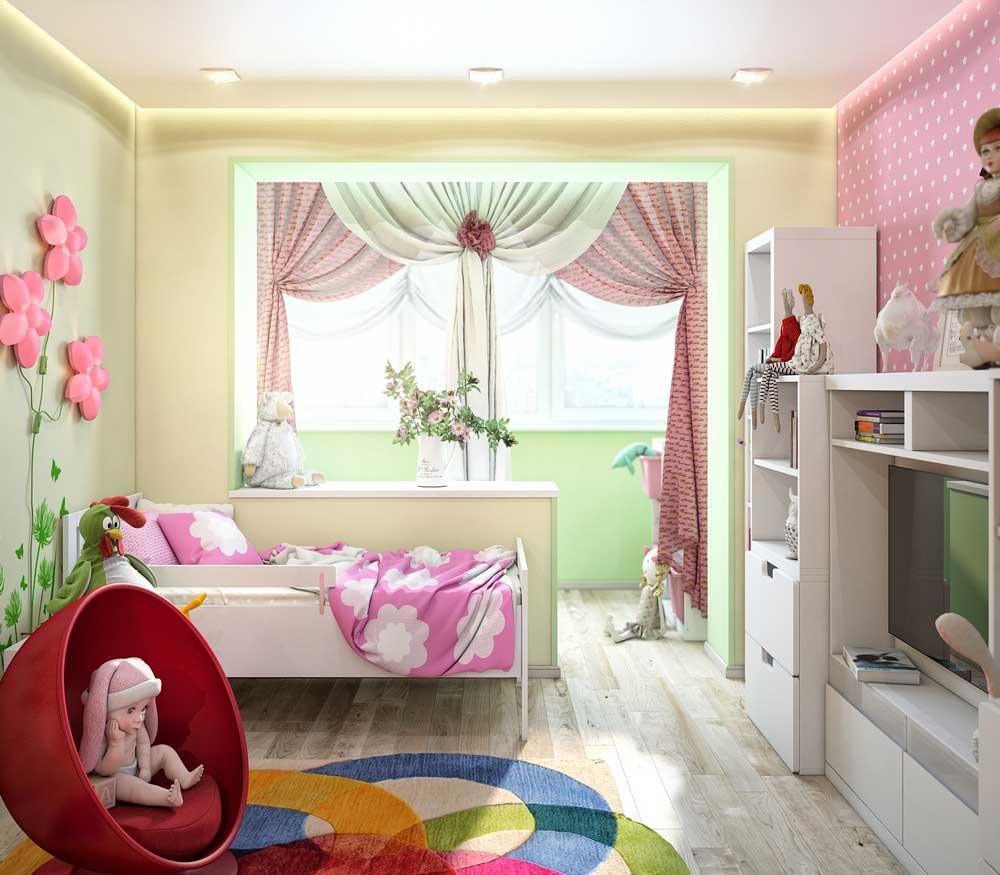 Варианты дизайна детской комнаты с балконом для детей младшего возраста и подростков: фото интерьера