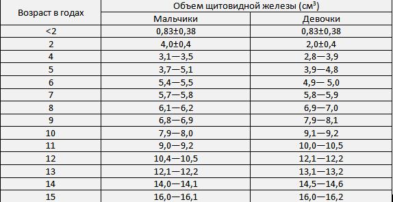 Таблица с нормами размеров щитовидной железы по узи у детей и причины отклонений показателей. размеры щитовидной железы в норме по узи