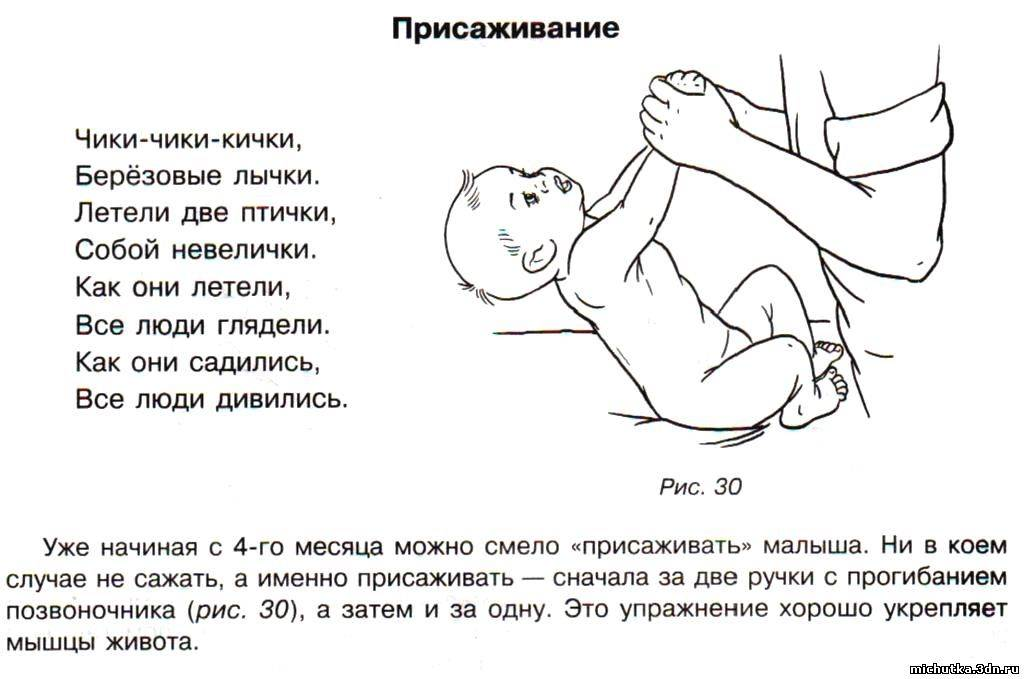 Как садятся дети в первый раз: сроки, правильное положение, видео