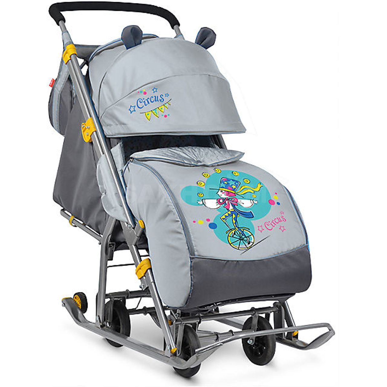 Детские санки-коляска с колёсами: критерии выбора, рейтинг лучших моделей, как собрать и ухаживать