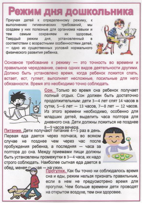Режим дня младенца, ребенка в детском саду, школьника: рекомендации, советы, таблицы