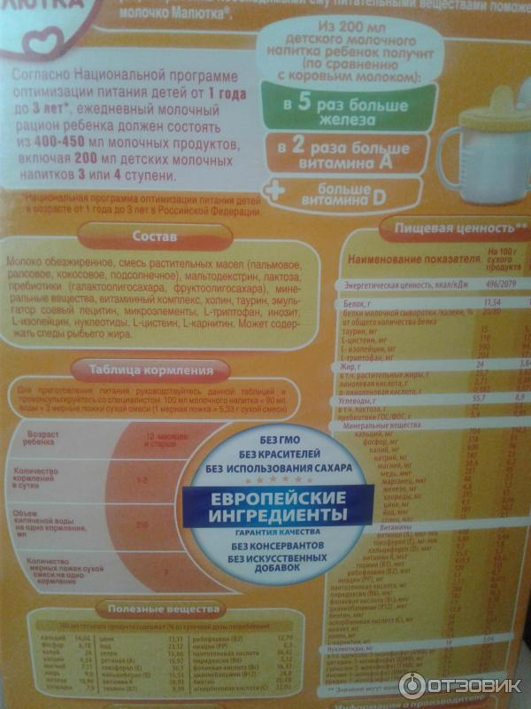 Детское питание малютка: состав и инструкция по применению