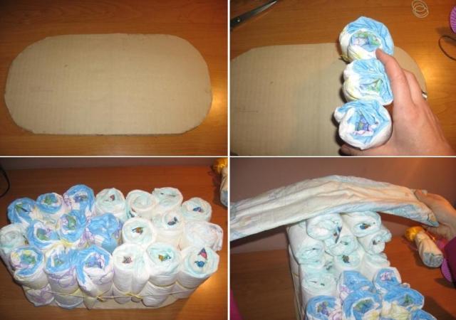 Как сделать красивую коляску из памперсов своими руками: 2 мастер-класса с пошаговыми фото и описанием