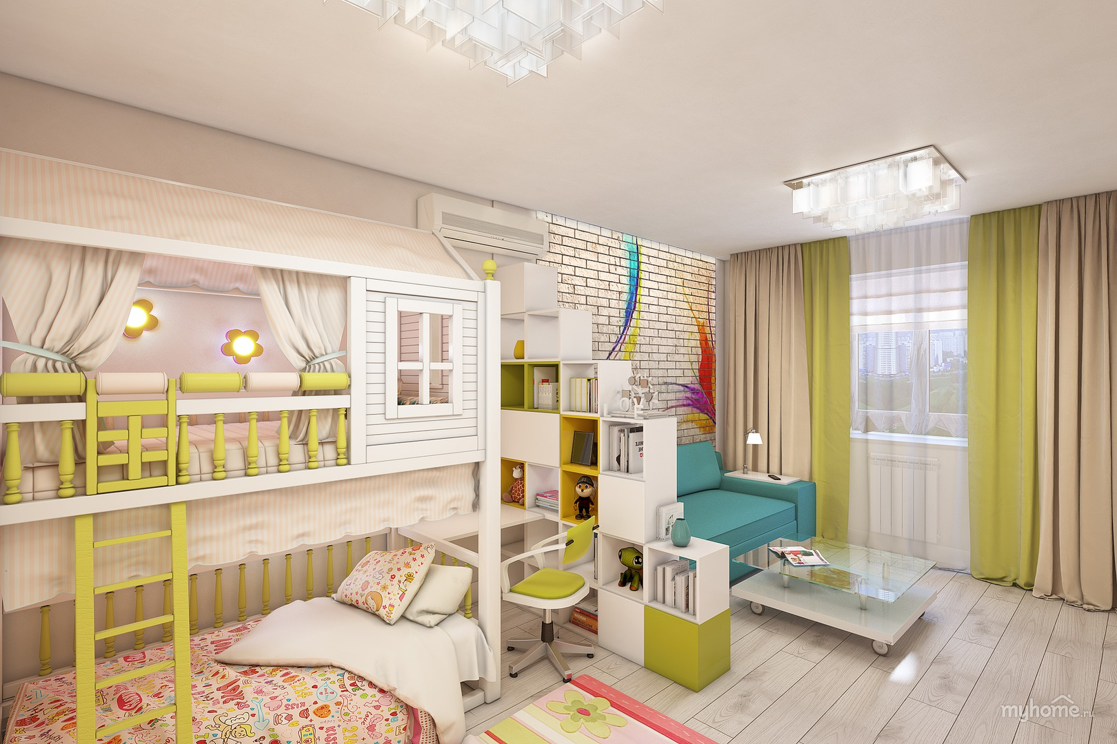 Зонирование комнаты на детскую и взрослую