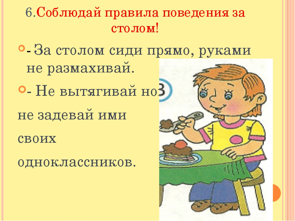 Правила поведения за столом для школьников