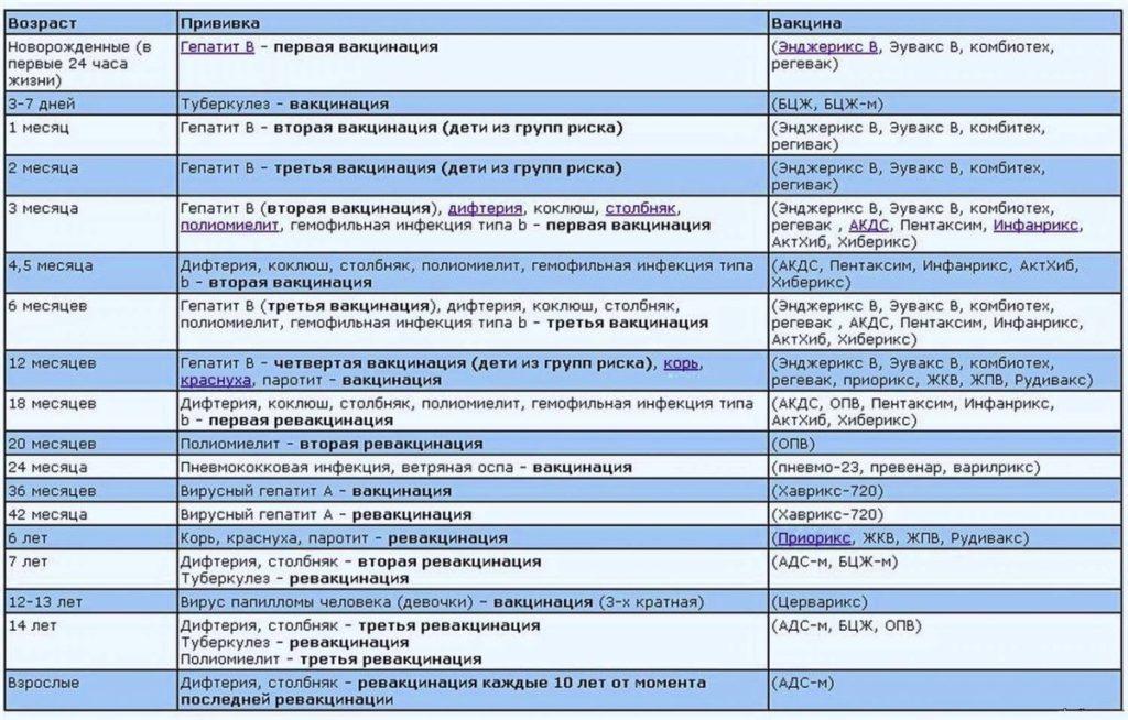 Календарь профилактических прививок детям: сроки и особенности вакцинации
