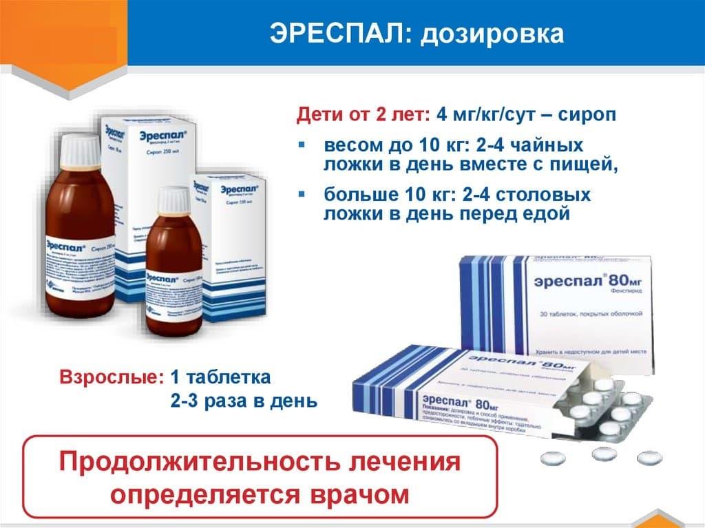 Инструкция по применению сиропа и таблеток эреспал