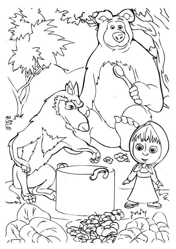 Раскраски из мультфильма маша и медведь