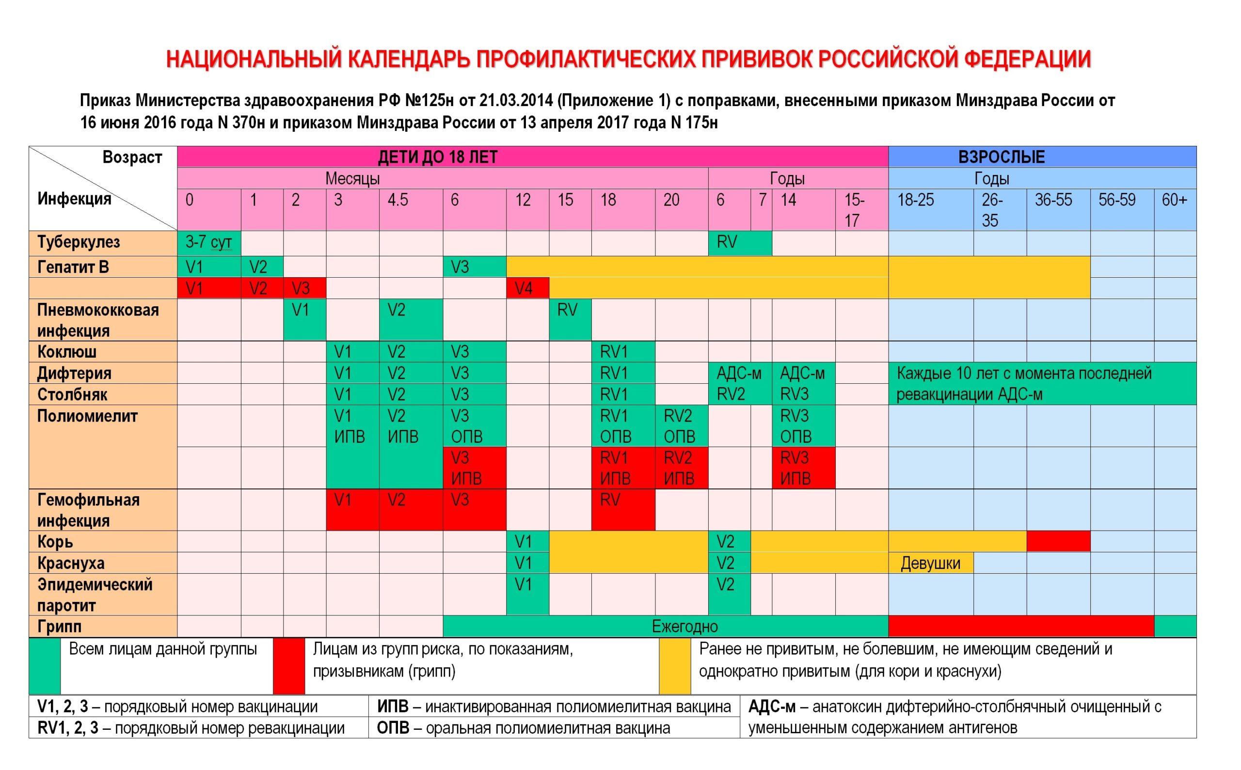 Прививки в 1 год, в 2 и 3 года: календарь прививок для детей, график вакцинации