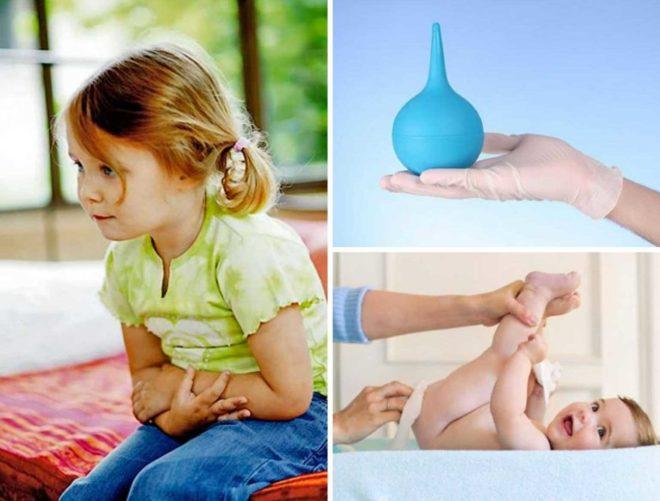 Применение клизмы при запорах у детей