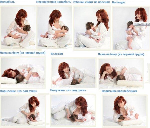 Позы для кормления ребенка грудью