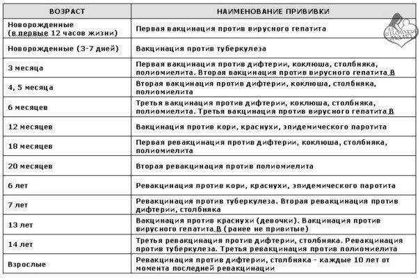Календарь прививок против полиомиелита в россии