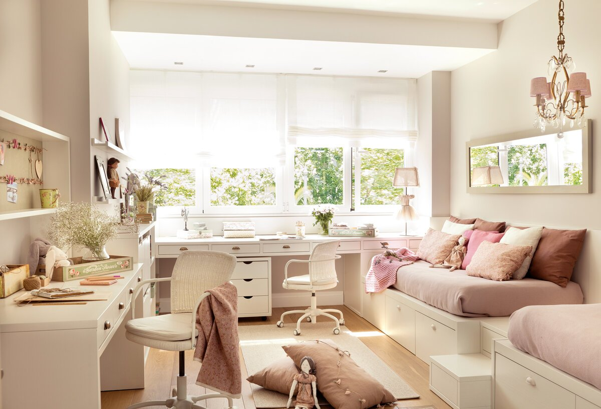 Детская комната для двух девочек - 87 фото интерьеров