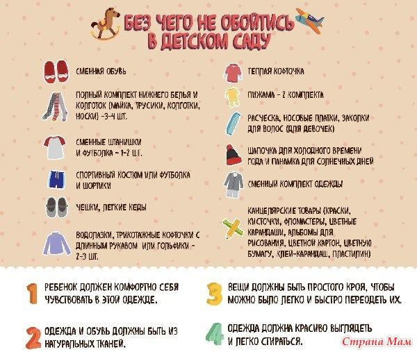 Что нужно взять с собой в детский сад: список одежды и важных вещей для ребенка на первое время