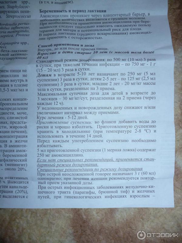 Амоксициллин (amoxicillinum): описание, рецепт, инструкция