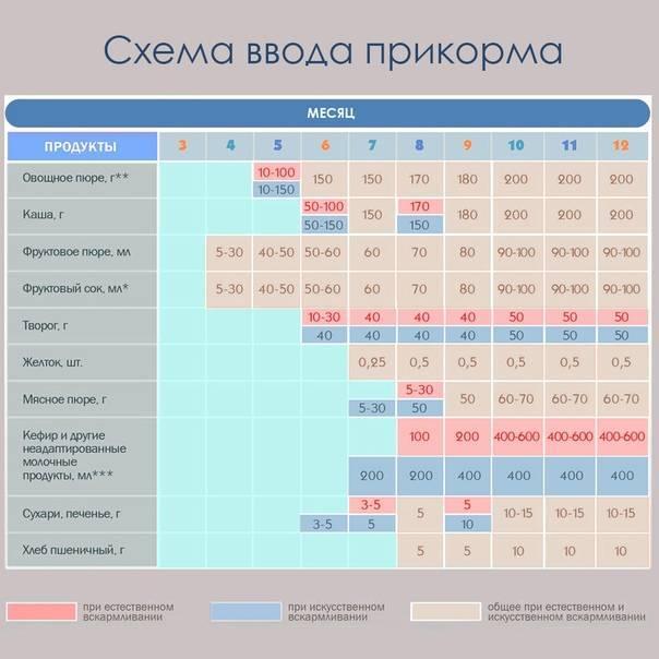 Педагогический прикорм: схема при грудном и искусственном вскармливании, таблица