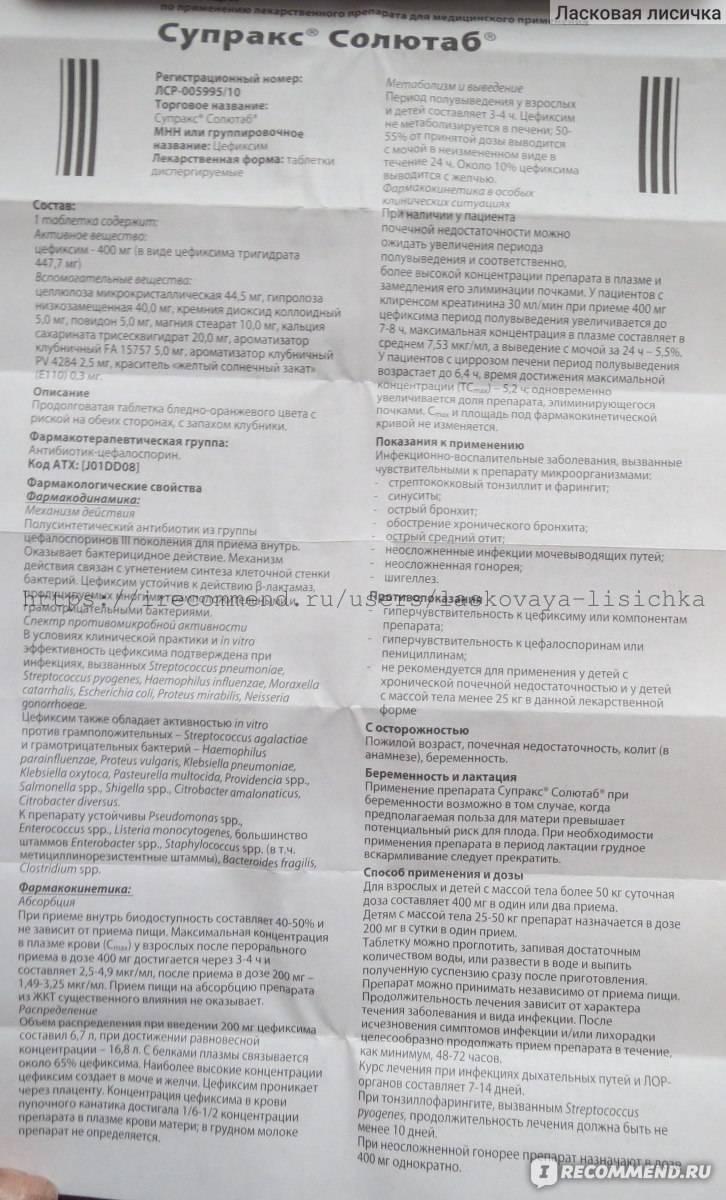 Супракс - инструкция по применению в суспензии и таблетках для детей или взрослых, аналоги и цена | полезно знать | healthage.ru