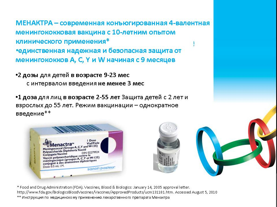 Прививка от менингита сколько действует