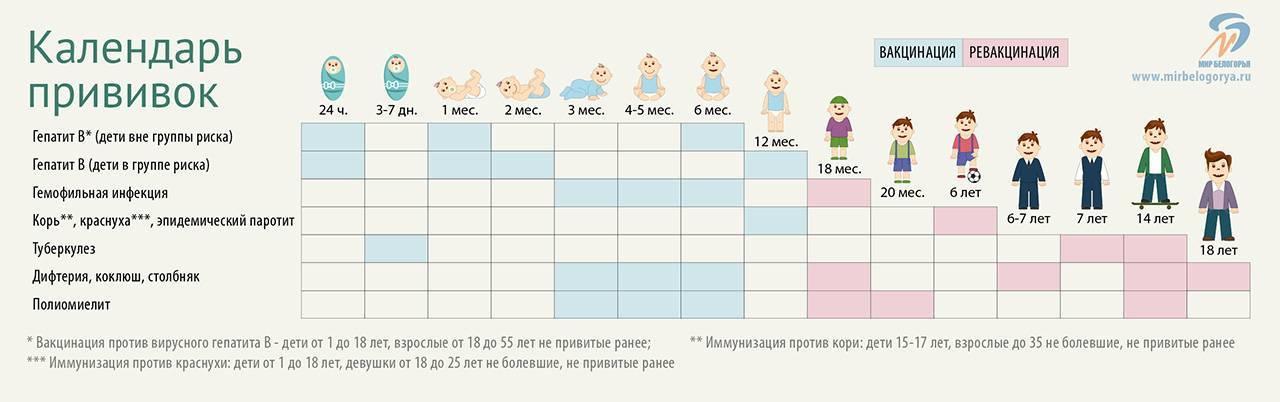 Прививки детям: график и таблица по возрасту