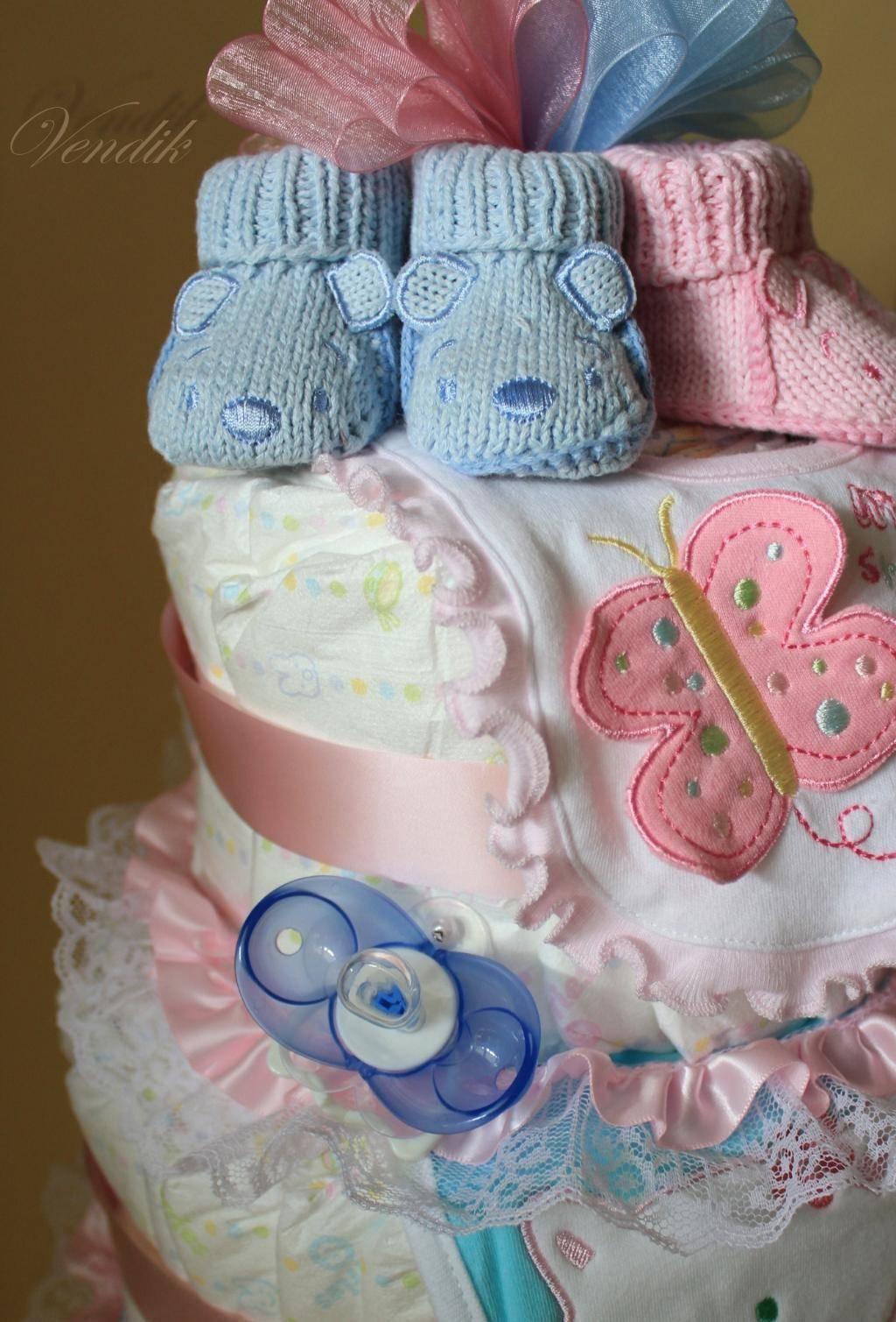 Как сделать торт из памперсов своими руками в подарок для девочки или мальчика