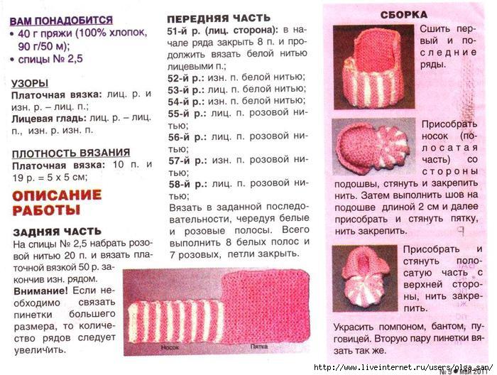 Схемы вязания носочков спицами для новорожденных от 0 до 2 месяцев