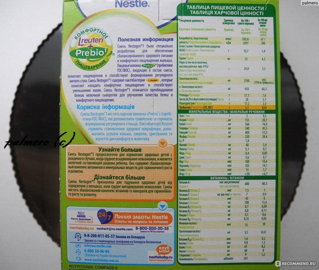 Нестожен: состав продукта, таблица дозировки молочной смеси для питания новорожденных