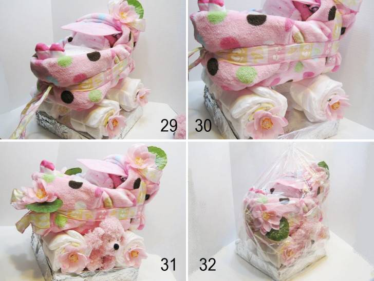 Коляска из памперсов: замечательный подарок новорожденному малышу