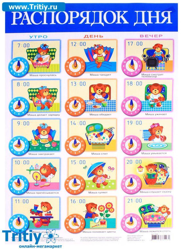 Примерный режим дня ребенка в 3 года таблица по часам  не посещающего детский сад и посещающего | семья и мама