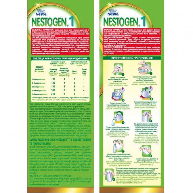 Детская смесь «нестожен-1» для новорожденных: состав, инструкция по применению