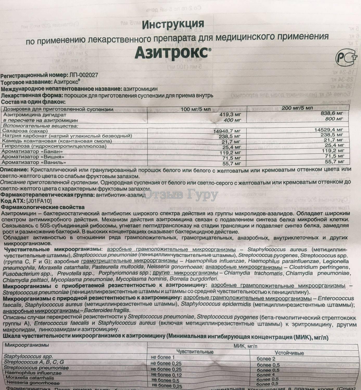Суспензия и капсулы азитромицин (125 и 250 мг) для детей: инструкция по применению с расчетом дозировки