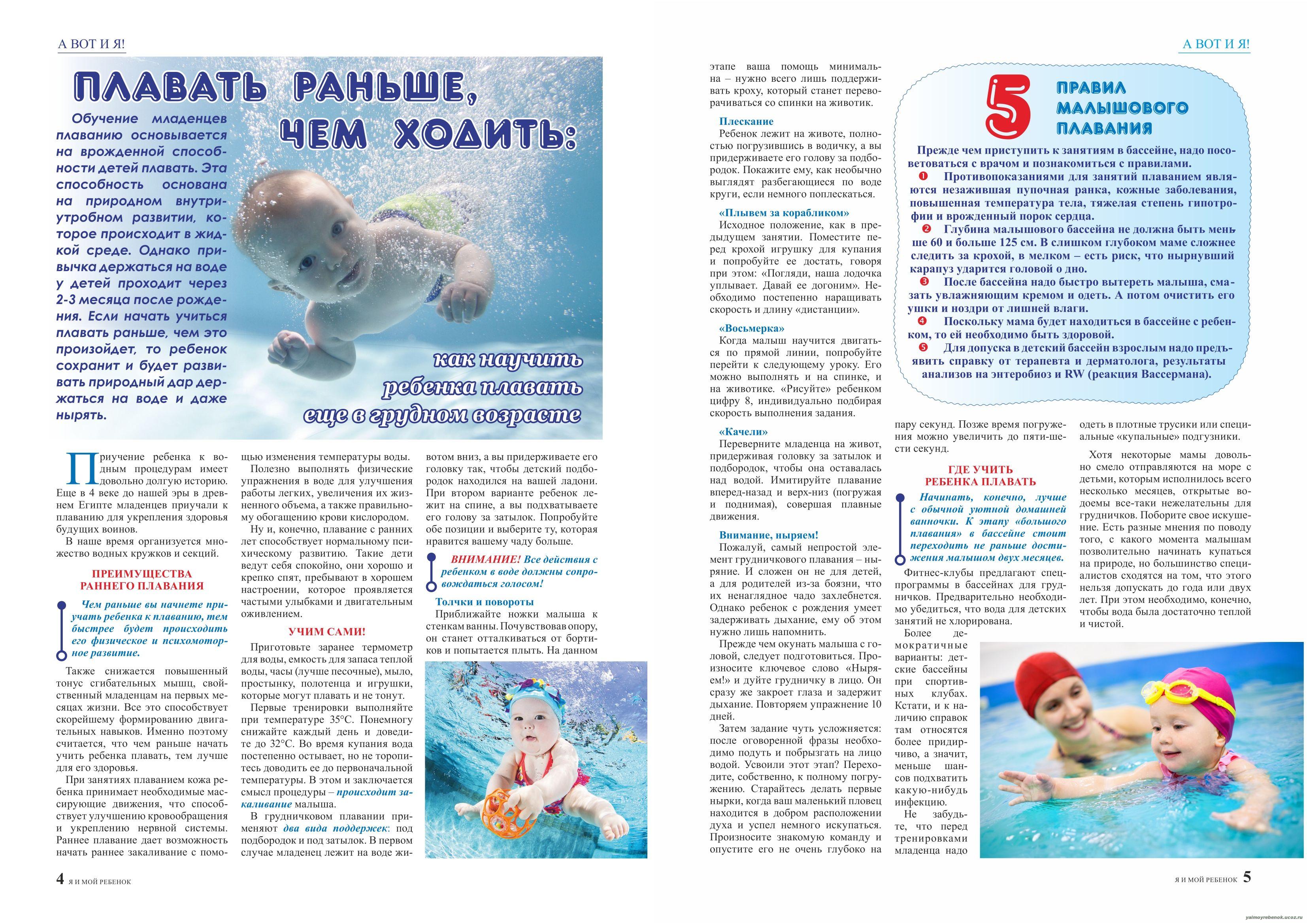 Плавание грудничков в ванне — упражнения и гимнастика