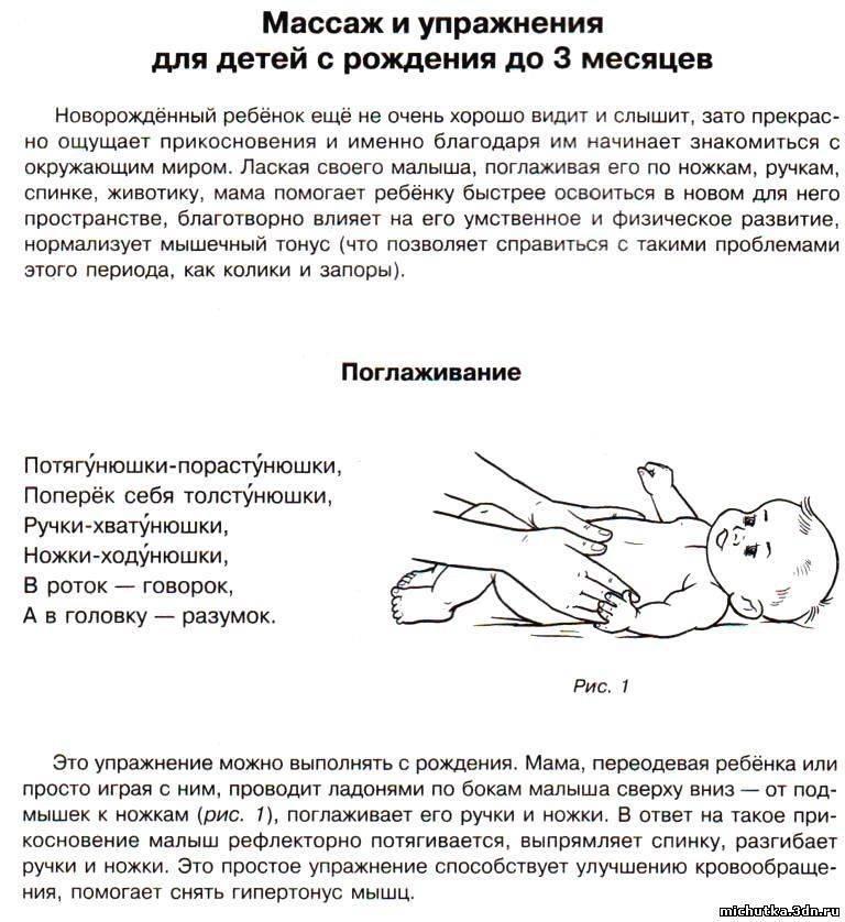 Массаж ребенку 4-5 месяцев: общеукрепляющий массаж для грудничков в домашних условиях